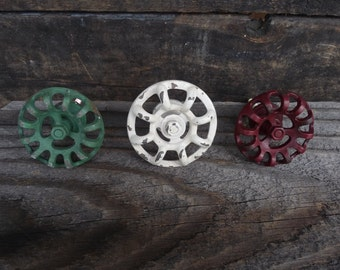 Vintage Water Faucet Knob ~ Rustic Cast Iron Distressed Green ~ Red ~ White ~ Drawer Pulls ~Shabby Chic Decorative