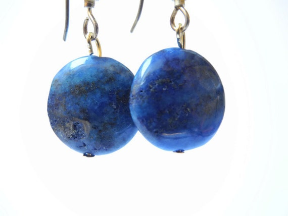 Blue beaded semi precious gemstone dangle earrings of lapis lazuli and vermeil earhook