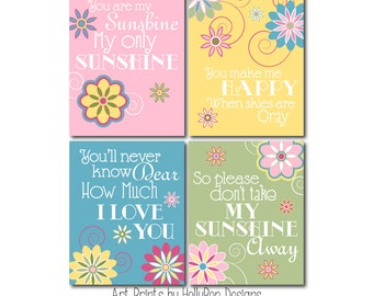 You are my sunshine Girl nursery decor Girls room art prints Sunshine art print set Toddler girls room artwork Floral nursery wall prints