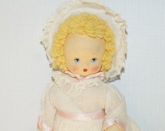 "Vintage 1940s Felt Character Doll 11"""