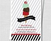 Vintage Ice Cream Shop Boy Birthday Party - Ice Cream Themed Party - Boy Birthday - Digital Design or Printed Invitations - FREE SHIPPING