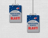 Rocket Ship Party Favor Tags - Space Themed Birthday Party -  INSTANT DOWNLOAD