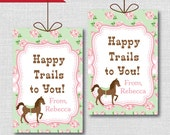 Shabby Chic Horse Pink and Green Birthday Favor Tags - Horse Theme Birthday Party - Digital Design or Handcrafted Tags - FREE SHIPPING