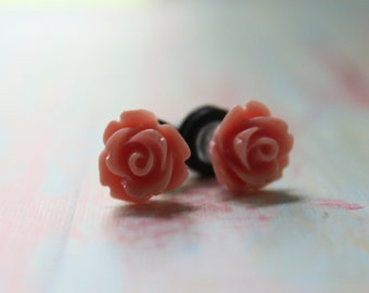 4g Mauve Rose Plugs Custom Size Flower Gauges 4g 2g 0g Vintage Inspired Dusty Rose Piercing for Wedding Bridal Wear