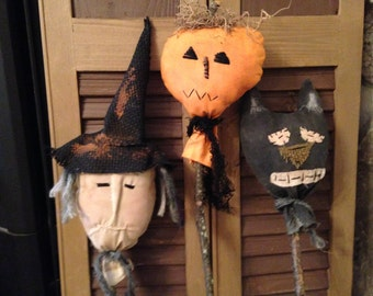 Primitive Halloween Set of 3 Pokes and/or Tucks, Witch, Pumpkin and Cat Decoration