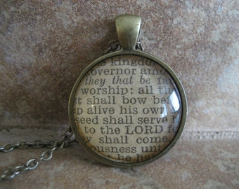 Worship Scripture Necklace Bible Verse Psalm 22:28-31 From an Antique Bible OOAK