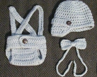 Crochet Newborn boys diaper cover, suspenders, bow tie and newsboy hat light gray made to order