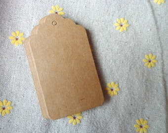 Pack of 100 Hang Tags Retro Brown Tag with Strings, 4x7 Scallop Price Blank Label