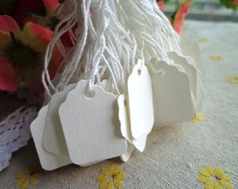 Mini White Blank Scallop Hang Tag / Label , 2 x2.8cm - Pack of 50