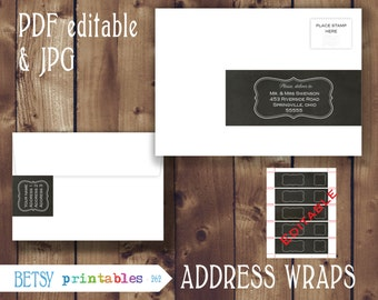 Editable return address, editable Address wraps, chalkboard, Printable PDF envelope wrap labels - Instant Download - 262