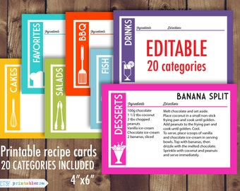 Printable recipe cards, 4x6 recipe cards, editable recipe cards, recipe card pdf, Instant Download- 286