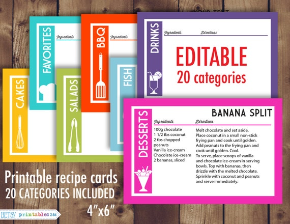 printable recipe cards 4x6 recipe cards editable recipe