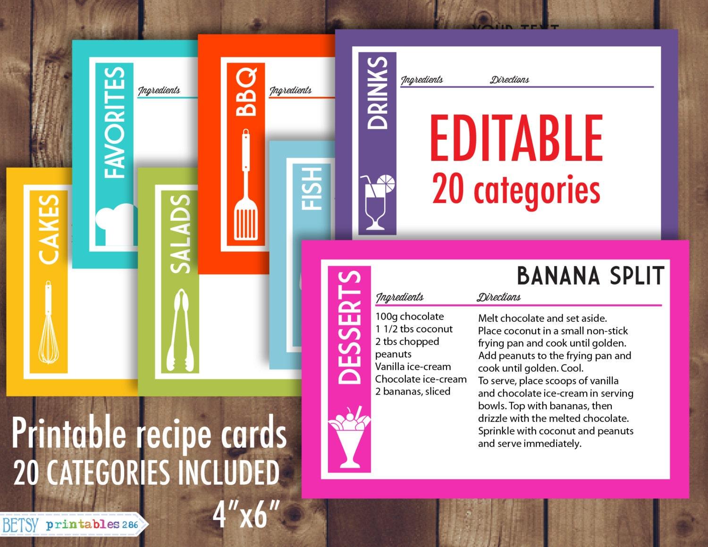 printable recipe cards 4x6 recipe cards editable recipe