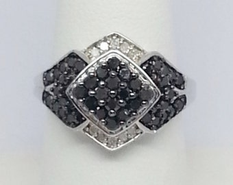 Black And White Diamond .93ctw Sterling Silver Ring Sz 8