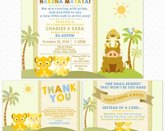 Baby Lion King Baby Shower Invitation, Thank You Card, and Book Poem