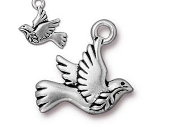 Pewter Peace Dove Charm by Tierra Cast, Dove Charm