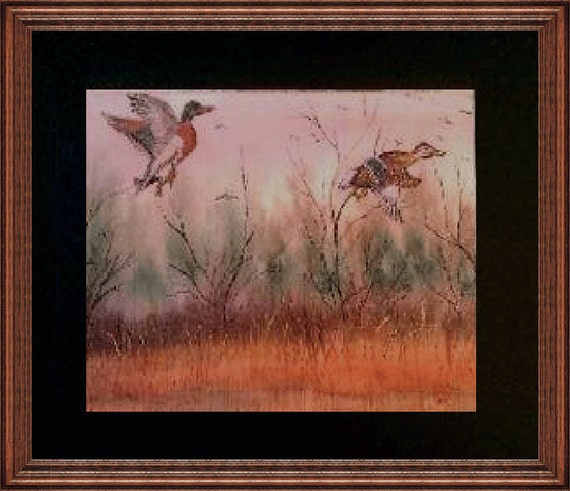 Flying Ducks  Giclee Art Print