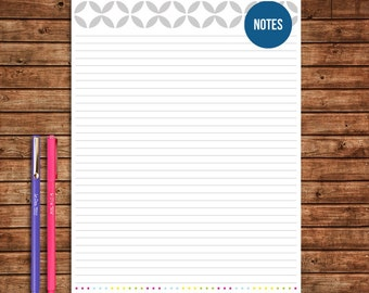 Notes Page Printable - INSTANT DOWNLOAD