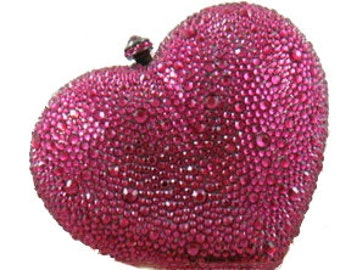 Swarovski ELEMENTS Ruby Pink Heart shape Rhinestone Crystal Metal case box clutch bag