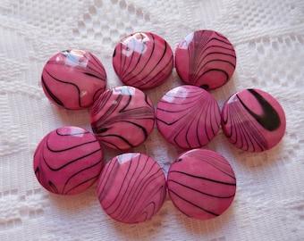 9  Dark Fuschia Hot Pink & Black Swirled Faceted Flat Round Acrylic Beads  18mm