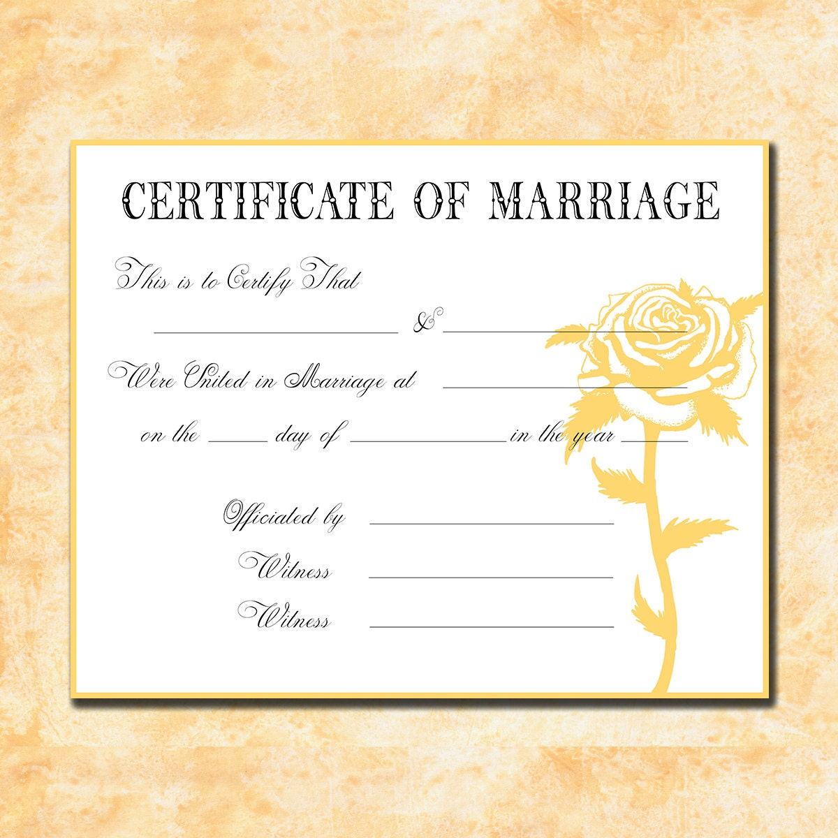 Marriage Records: Keepsake Marriage Certificate Faded Yellow By