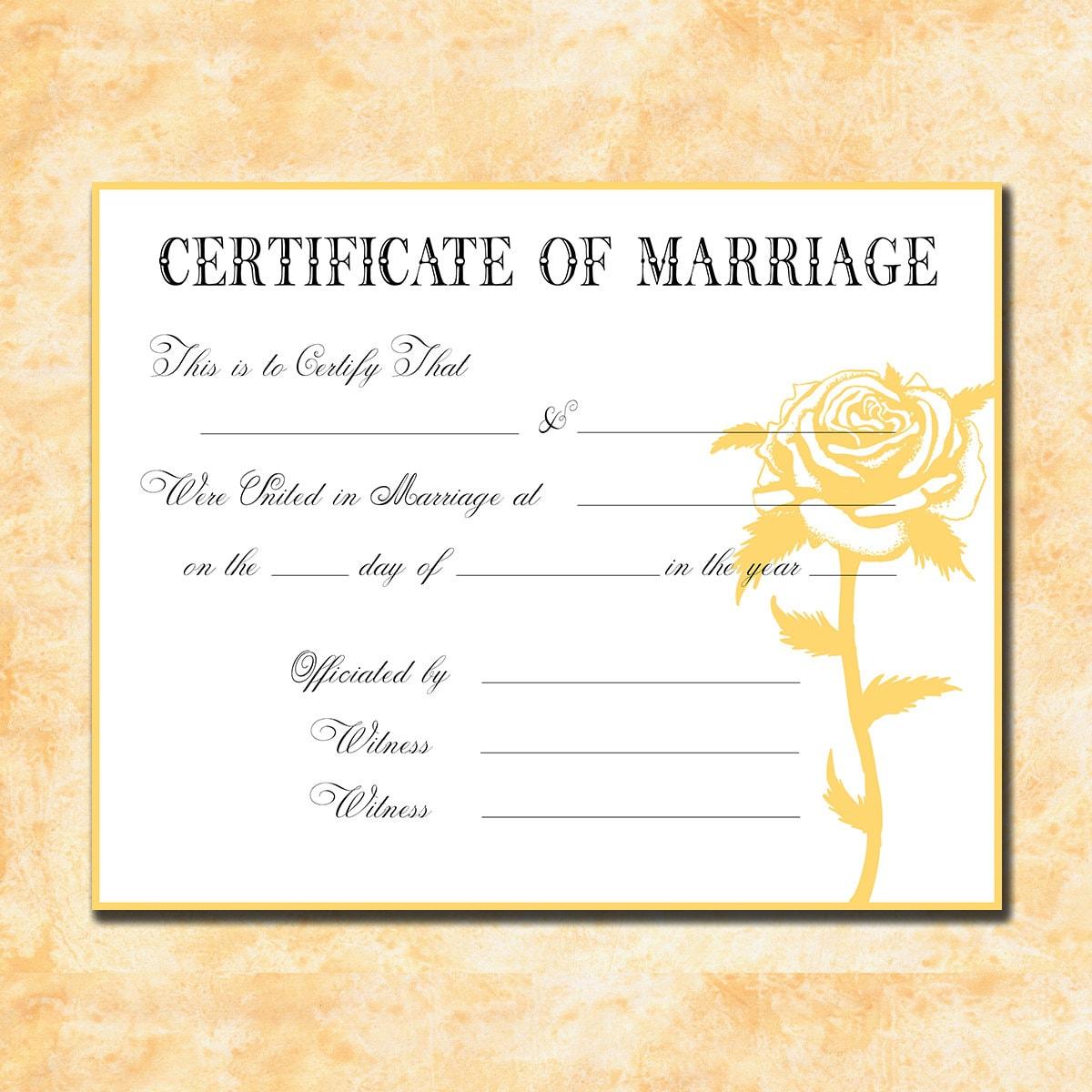 Keepsake Marriage Certificate Faded Yellow By