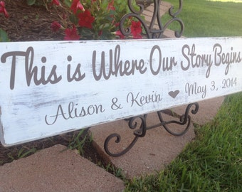 PERSONALIZED - This is Where Our Story Begins - Shabby Chic Wedding Sign, Wedding & Reception Decor, Bridal Shower Decor