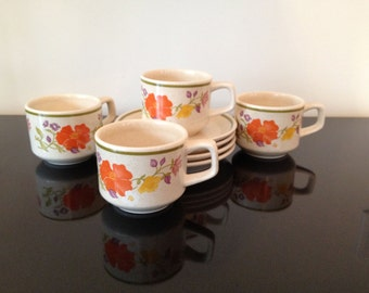 Vintage Temper-Ware by Lenox Summer WInd Set of 4 Cups and Saucers