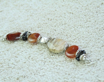 Chunky Multi Stone Bracelet Featuring Carnelian, Onyx, Picture Jasper & Sterling Silver Beads in Red, Black, Silver and Taupe