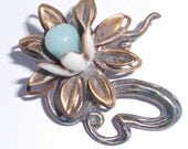 Antique flower pin 1930s brooch with blue stone or glass