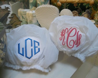 Monogrammed Shower Cap, Terry Lined with Monogram - Bath Personalized Custom Bride Bridesmaids Birthday Christmas Bathroom Tub Shower Gifts