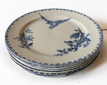 "Dessert Plate - Faience Blue Transferware  by Sarreguemines - France -  pattern "" Favori """