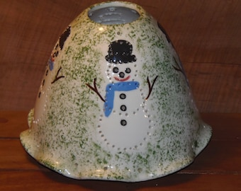 Vintage handmade ceramic Snowman candle holder