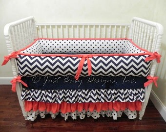 Custom Baby Bedding Set Melissa  - Girl Crib Bedding, Coral and Navy Baby Bedding