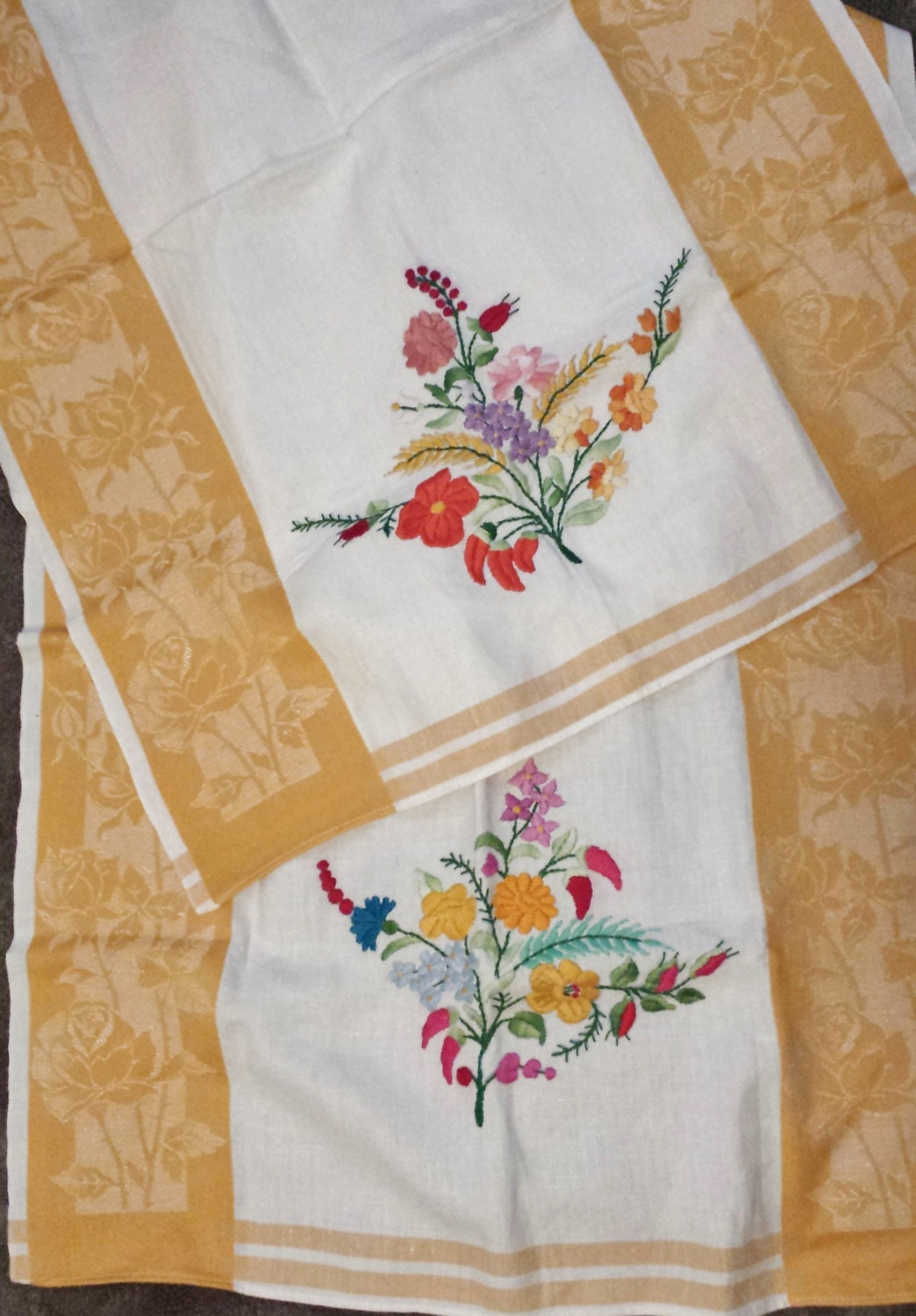 Two Vintage Linen Tea Towel Kitchen Embroidered Kitschy Shabby