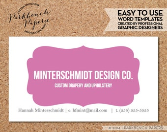 Business Card Template - Bubblegum Frame-  DIY Editable Word Template, Instant Download, Printable