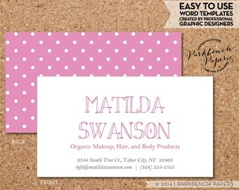 Business Card Template - Barbie Pink and White Dots-  DIY Editable Word Template, Instant Download, Printable