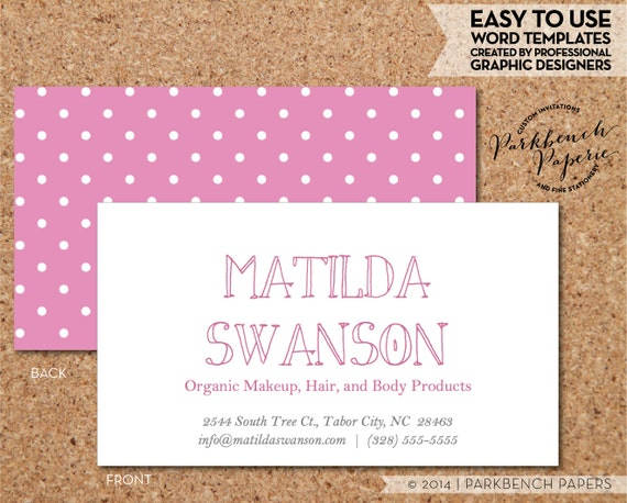 Business Card Template Barbie Pink And White Dots DIY