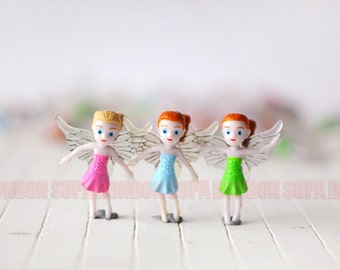 3 pcs / Decoden / Plastic / Fairy / Girls / With Wings / Dollhouse / Miniature / Figurine  (Height 3.5CM) EU115