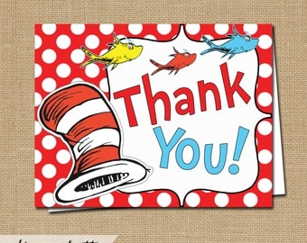 Dr Seuss Thank You Card - Instant Download