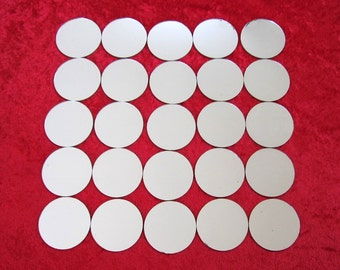 "50 Small Round Mirrors 2 3/16"" (5cm )  X 1/16"" (.08cm)"