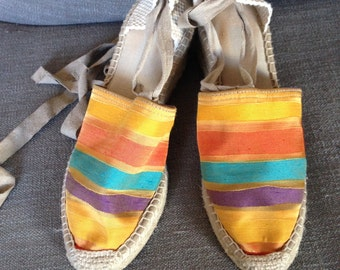 Spanish Espadrilles in Satin Linen