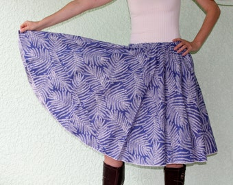 Vintage Vera Tablecloth Circle Skirt - GRACEFUL White FERNS Powder Blue up to 2XL