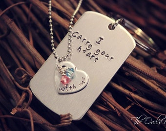 "SALE Hand Stamped Stainless Steel ""I Carry Your Heart With Me"" His & Her Necklace Set - Couples -"