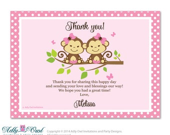 Twins Monkeys Thank you Card with Personalization Twins Monkeys Baby Shower or Birthday Card DIY - ao42bs1
