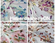 4 Meter Lot / Set Chiffon Fabric  - Wonderful Butterfly in 4 Different Design Total 4 Meters