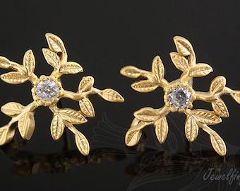 H719-Matt Gold Plated-10 pairs- flower post earring