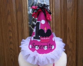 Minnie  Mouse Cupcake Birthday Hat - 1st Birthday Hat