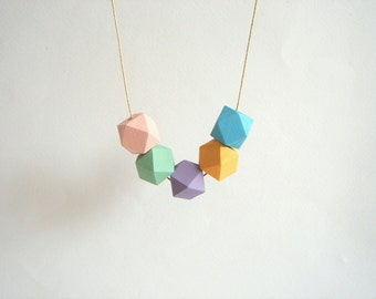 Pastel Geometric Necklace ,Handpainted Wood Geometric Necklace,Geometric Jewelry