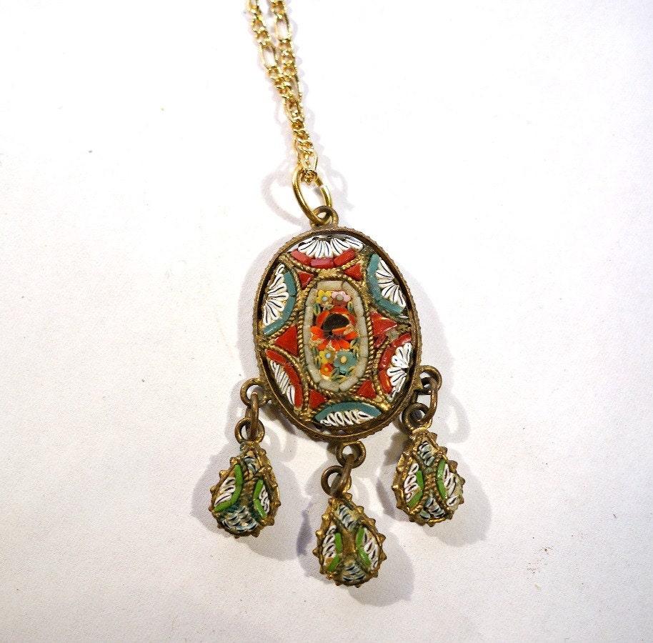 vintage micro mosaic flower pendant necklace deco micro